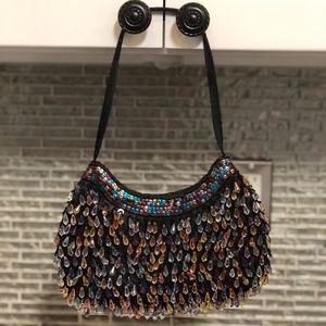 Tianni Black Multi Color Beaded Evening Bag